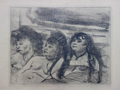 Whorehouse Scene : Three Prostitutes Asleep - Original etching