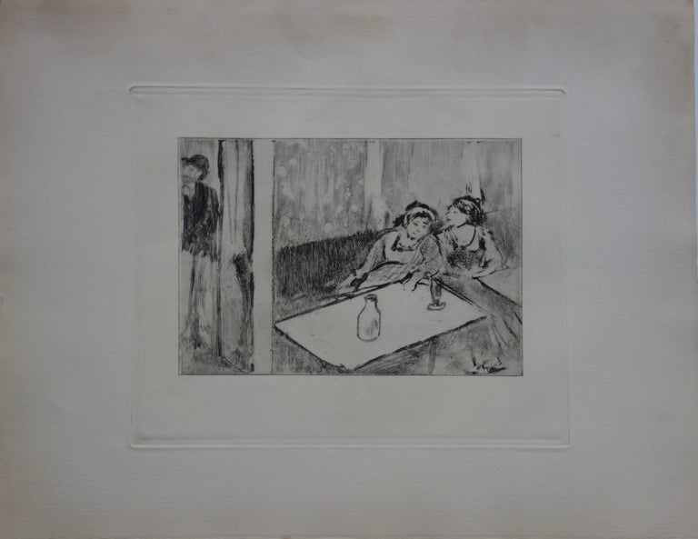 Whorehouse Scene : Champagne Before Love - Etching - Print by (after) Edgar Degas
