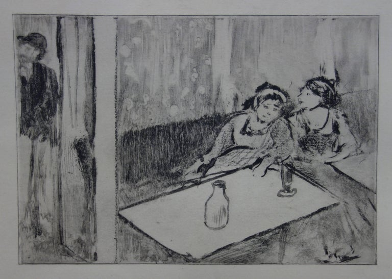 Whorehouse Scene : Champagne Before Love - Etching - Modern Print by (after) Edgar Degas