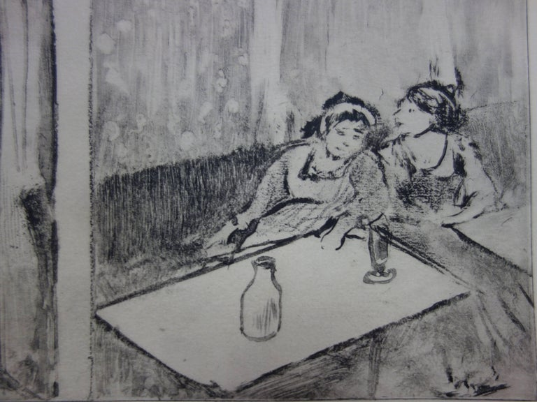 Whorehouse Scene : Champagne Before Love - Etching - Gray Figurative Print by (after) Edgar Degas