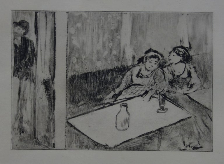 (after) Edgar Degas Figurative Print - Whorehouse Scene : Champagne Before Love - Etching