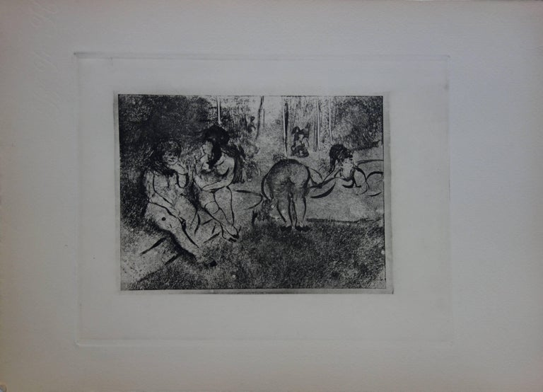 Whorehouse Scene : Group of Nude Prostitutes - Etching - Print by (after) Edgar Degas