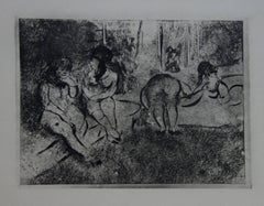 Whorehouse Scene : Group of Nude Prostitutes - Etching