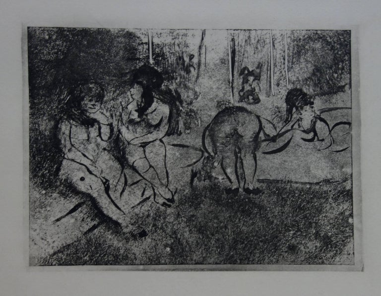 (after) Edgar Degas Figurative Print - Whorehouse Scene : Group of Nude Prostitutes - Etching
