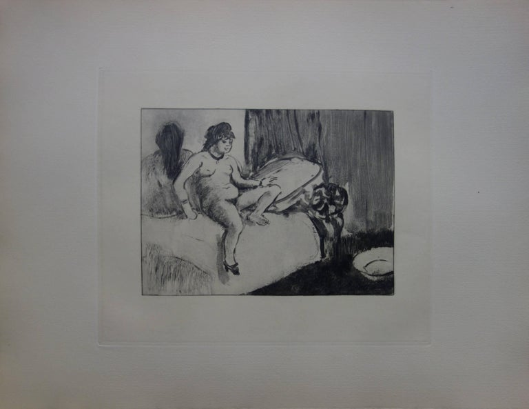 Whorehouse Scene : In the Room with a Miror - Etching - Print by (after) Edgar Degas