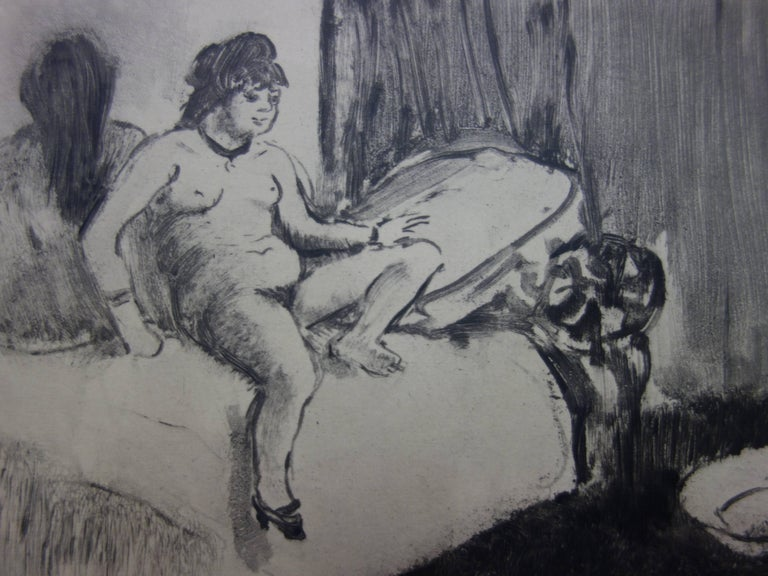 Whorehouse Scene : In the Room with a Miror - Etching - Modern Print by (after) Edgar Degas