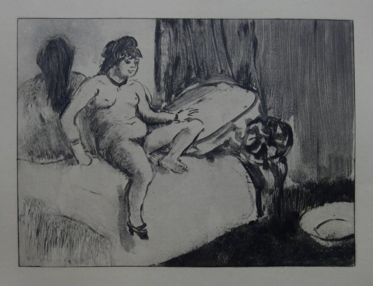 (after) Edgar Degas Figurative Print - Whorehouse Scene : In the Room with a Miror - Etching
