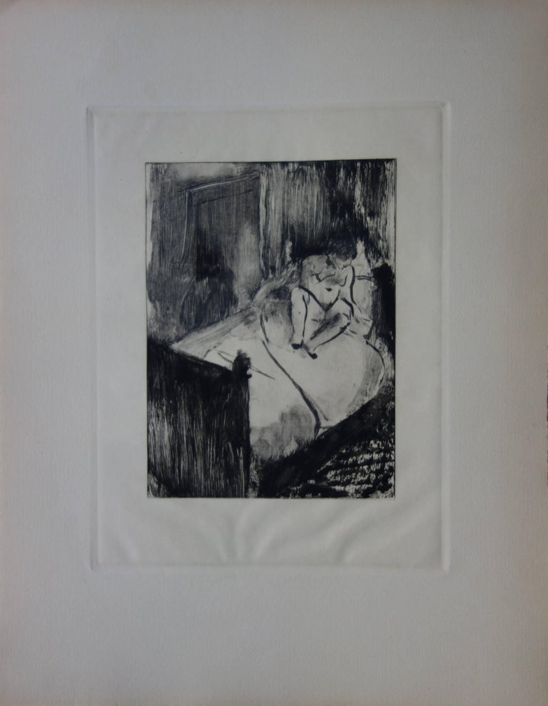 Whorehouse Scene : Nude Waiting on a Bed - Etching - Print by (after) Edgar Degas