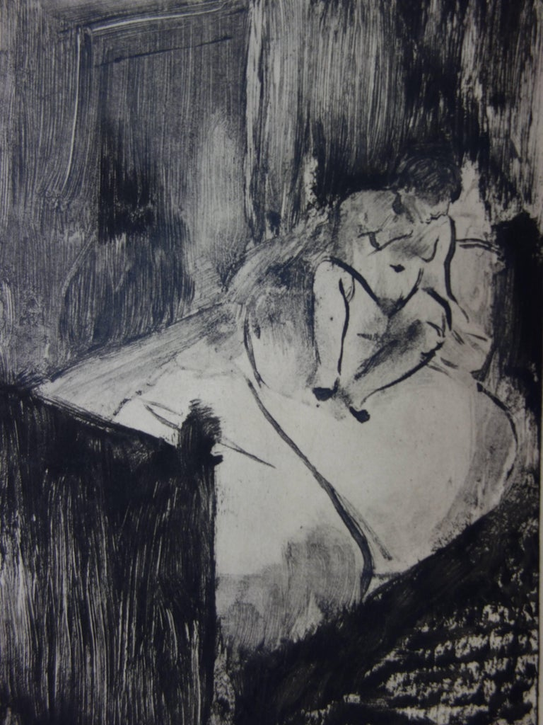 Whorehouse Scene : Nude Waiting on a Bed - Etching - Modern Print by (after) Edgar Degas