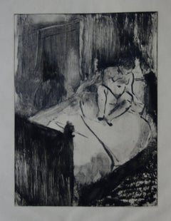 Whorehouse Scene : Nude Waiting on a Bed - Etching