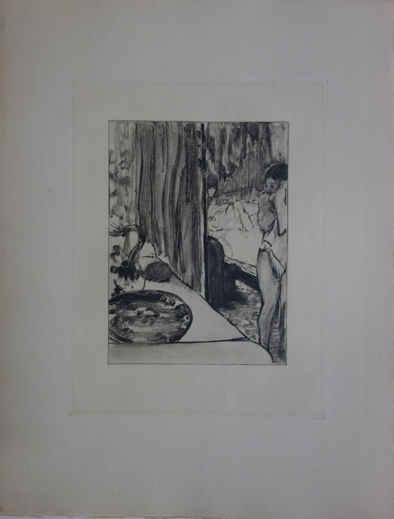 Whorehouse Scene : The Toilet - Etching - Print by (after) Edgar Degas