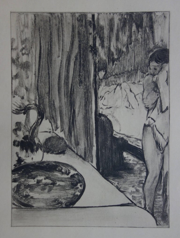 Whorehouse Scene : The Toilet - Etching - Modern Print by (after) Edgar Degas
