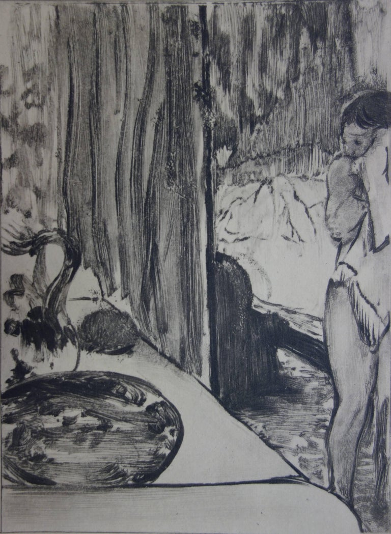 Whorehouse Scene : The Toilet - Etching - Gray Figurative Print by (after) Edgar Degas