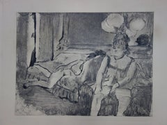 Whorehouse Scene : Woman with Garters - Etching