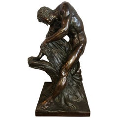After Edme Dumont 19th Cent Large Bronze Depicting Male Figure of Milo De Croton