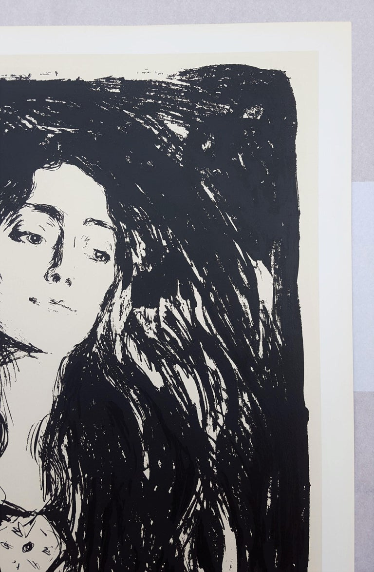 An original lithograph exhibition poster on heavy wove paper after Norwegian artist Edvard Munch (1863-1944) titled