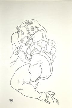 Crouching Female Nude - Original Collotype Print After Egon Schiele - 1920