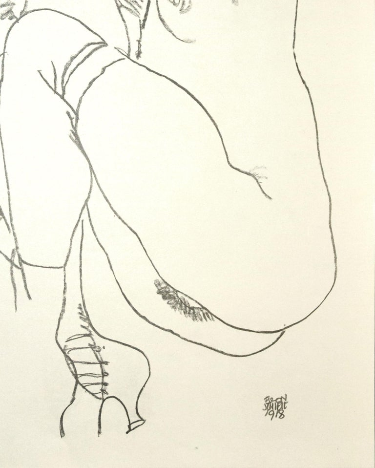 Crouching Nude of Woman - Original Collotype Print After Egon Schiele - 1920 - White Nude Print by (after) Egon Schiele