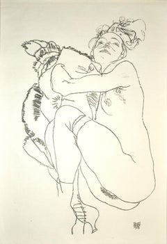Crouching Nude of Woman - Original Collotype Print After Egon Schiele - 1920