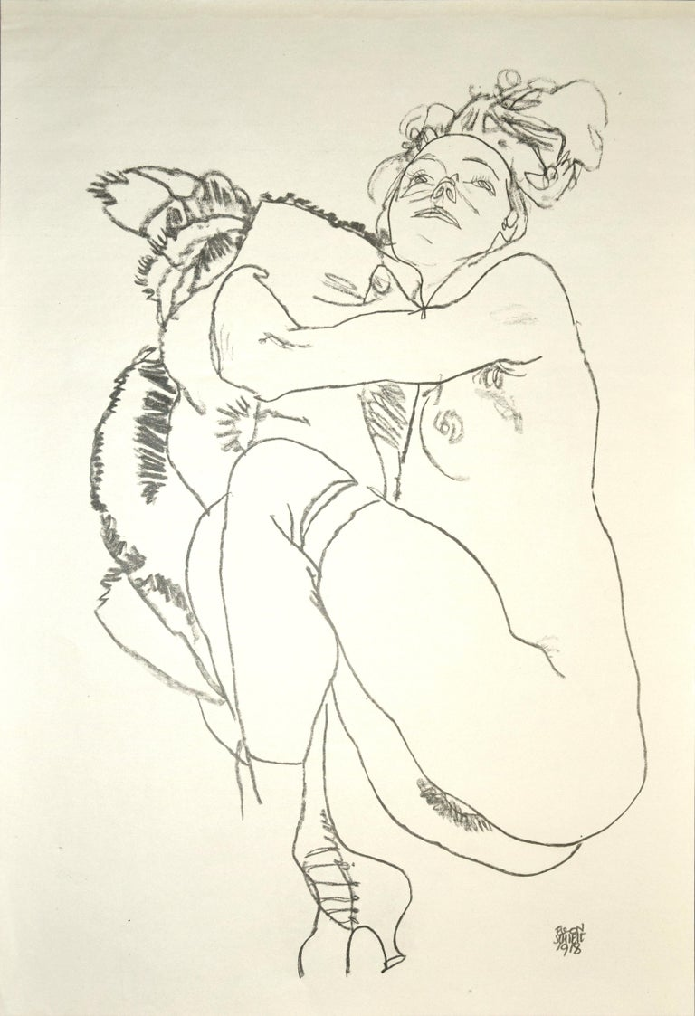 (after) Egon Schiele Nude Print - Crouching Nude of Woman - Original Collotype Print After Egon Schiele - 1920