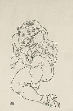 """E. Strache, Handzeichnungen folio, """"Crouching Female Nude"""" Collotype plate V"""