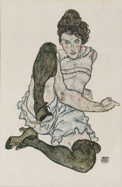 "E. Strache, Handzeichnungen folio, ""Female Model, Seated"" Collotype plate"