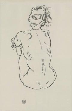 "E. Strache, Handzeichnungen folio, ""Female Nude, Back View"" Collotype plate"