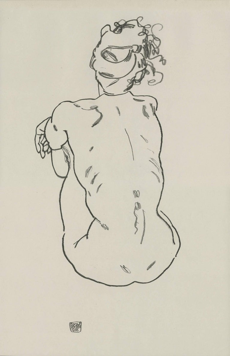 "(after) Egon Schiele Figurative Print - E. Strache, Handzeichnungen folio, ""Female Nude, Back View"" Collotype plate"