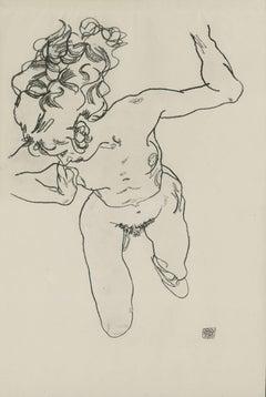 """E. Strache, Handzeichnungen folio, """"Kneeling Female Nude"""" Collotype plate"""