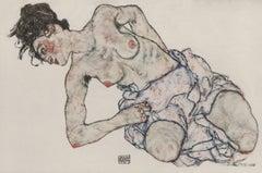 "E. Strache, Handzeichnungen folio, ""Kneeling Female, Semi-Nude"" Collotype plate"