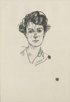 """E. Strache, Handzeichnungen folio, """"Portrait Study (Head of a Girl)"""" Collotype"""