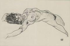 """E. Strache, Handzeichnungen folio, """"Reclining Female Nude"""" Collotype plate"""