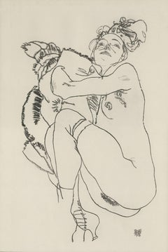 "E. Strache, Handzeichnungen folio, ""Reclining Female Nude Glancing Up"" Collotype"