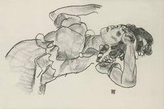 """E. Strache, Handzeichnungen folio, """"Reclining Girl, Half-Figure"""" Collotype plate"""