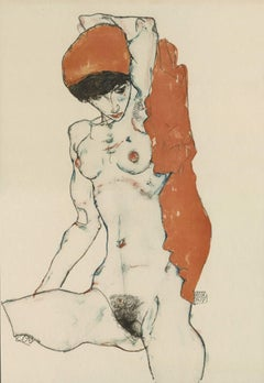 "E. Strache, Handzeichnungen, ""Seated Female Nude w/Orange Drapery"" Collotype"