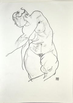 Female Nude - Original Collotype Print After Egon Schiele- 1920