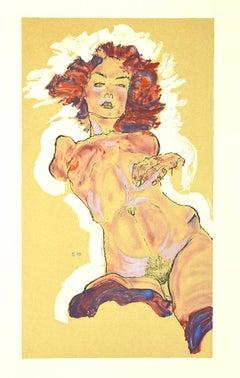 Female Nude - Original Lithograph after E. Schiele - 2007