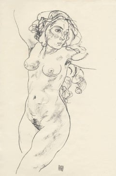 Female Nude, Walking after Egon Schiele, 1920 Collotype plate