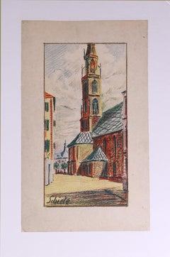 Kirche von Bozen, Farbkreide, 1906 (Church of Bolzano, Color Crayon)