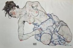 Kneeling Female Nude - Original Collotype Prints After Egon Schiele - 1920