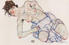 Kneeling Female Nude - Original Collotype Prints After Egon Schiele - 1920