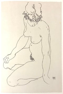 Kneeling Female Nude, Turning to the Right - 2000s - Lithograph - Modern Art