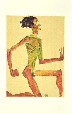 Kneeling Male Nude - Original Lithograph after E. Schiele - 2007