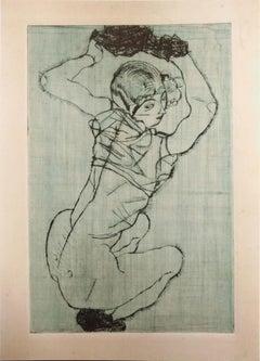 Knieendes Mädchen - Lithograph After Egon Schiele