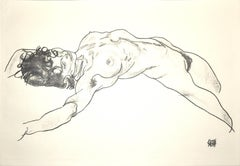 Lying Female Nude - Original Collotype Print After Egon Schiele - 1920