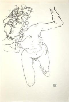 Lying Nude of Woman - Original Collotype Print After Egon Schiele - 1920