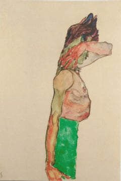 Mädchen mit grünem Rock - Original Lithograph After E. Schiele
