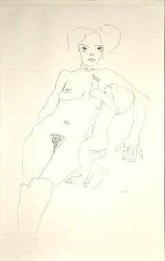 Mother and Child - Original Collotype Print After Egon Schiele - 1920