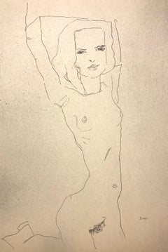 Nude Girl with Raised Arms - Egon Schiele - Modern Art