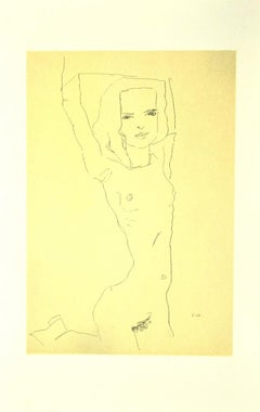 Nude Girl With Raised Arms - Original Lithograph after E. Schiele - 2007